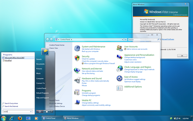 Screenshot Windows 7. version of Windows 7 theme
