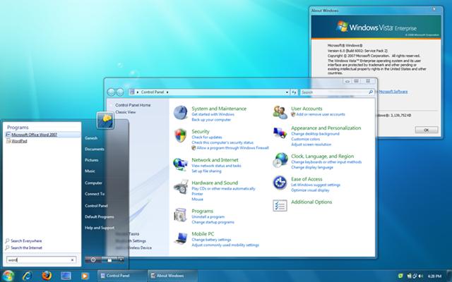 Screenshot Windows 7. version of Windows 7 theme