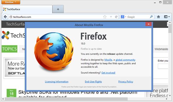 Mozilla Firefox 18
